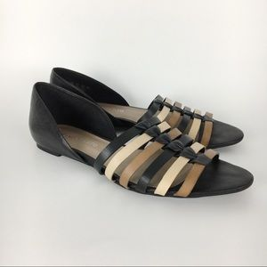 Franco Sarto Black | Tan | Brown Leather Flats 8.5